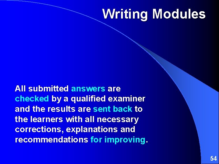 Writing Modules All submitted answers are checked by a qualified examiner and the results