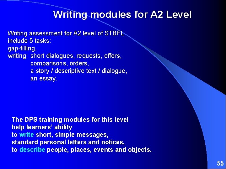 Writing modules for A 2 Level Writing assessment for A 2 level of STBFL