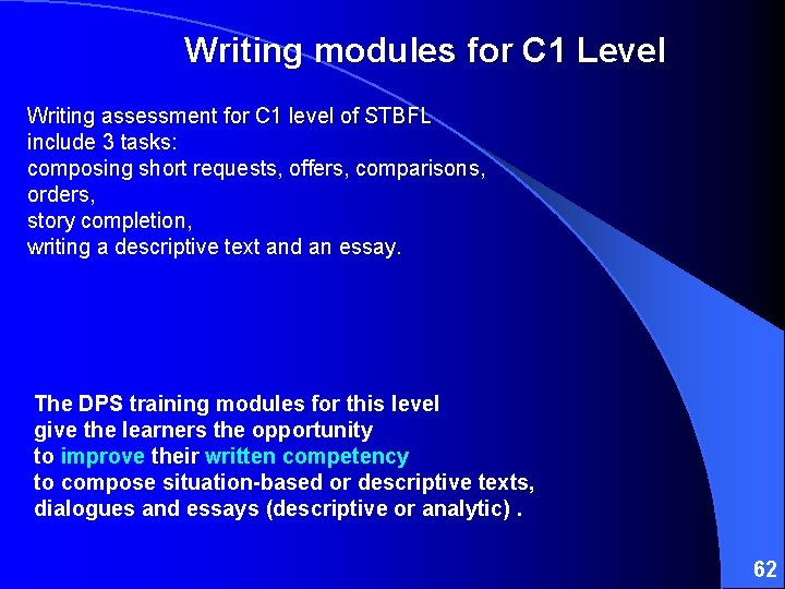 Writing modules for C 1 Level Writing assessment for C 1 level of STBFL