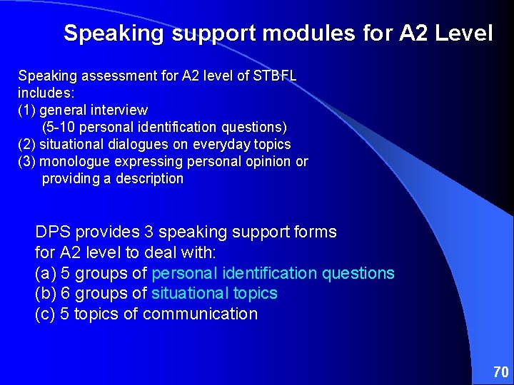 Speaking support modules for A 2 Level Speaking assessment for A 2 level of