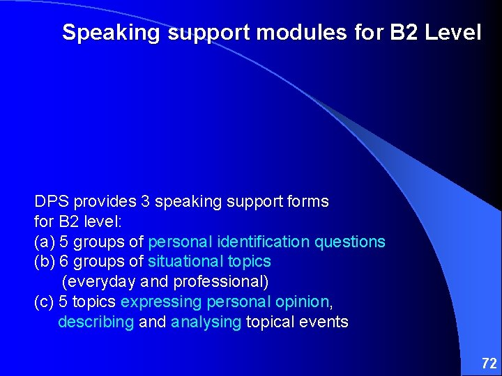 Speaking support modules for B 2 Level DPS provides 3 speaking support forms for