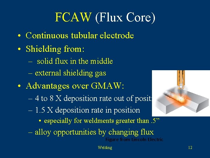 FCAW (Flux Core) • Continuous tubular electrode • Shielding from: – solid flux in
