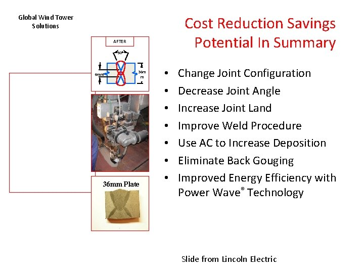 Cost Reduction Savings Potential In Summary Global Wind Tower Solutions AFTER 50º 6 mm