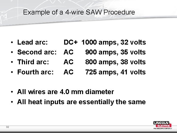 Example of a 4 -wire SAW Procedure • • Lead arc: Second arc: Third