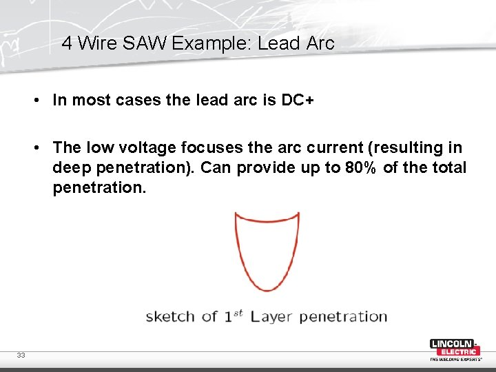 4 Wire SAW Example: Lead Arc • In most cases the lead arc is