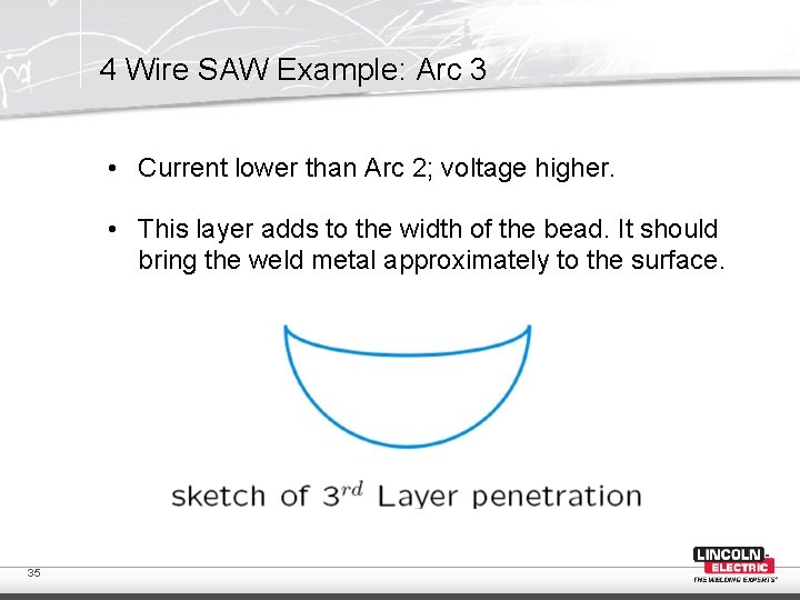 4 Wire SAW Example: Arc 3 • Current lower than Arc 2; voltage higher.