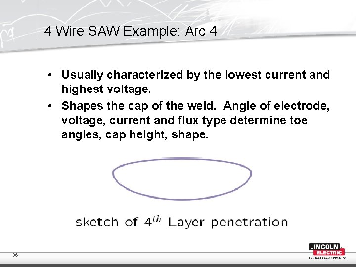 4 Wire SAW Example: Arc 4 • Usually characterized by the lowest current and