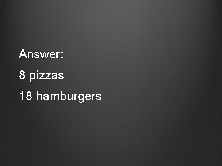 Answer: 8 pizzas 18 hamburgers