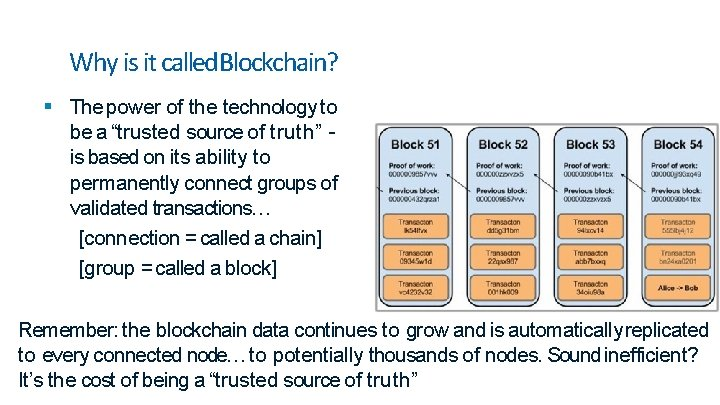 """Why is it called. Blockchain? The power of the technology to be a """"trusted"""
