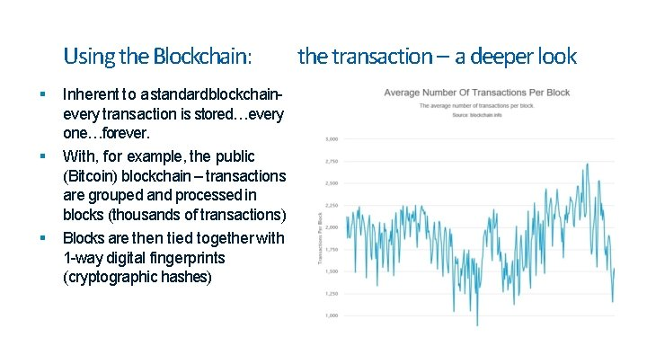 Using the Blockchain: Inherent to a standardblockchainevery transaction is stored…every one…forever. With, for example,