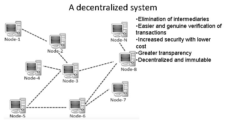 A decentralized system • Elimination of intermediaries • Easier and genuine verification of transactions