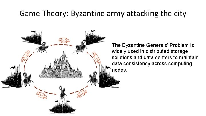 Game Theory: Byzantine army attacking the city The Byzantine Generals' Problem is widely used