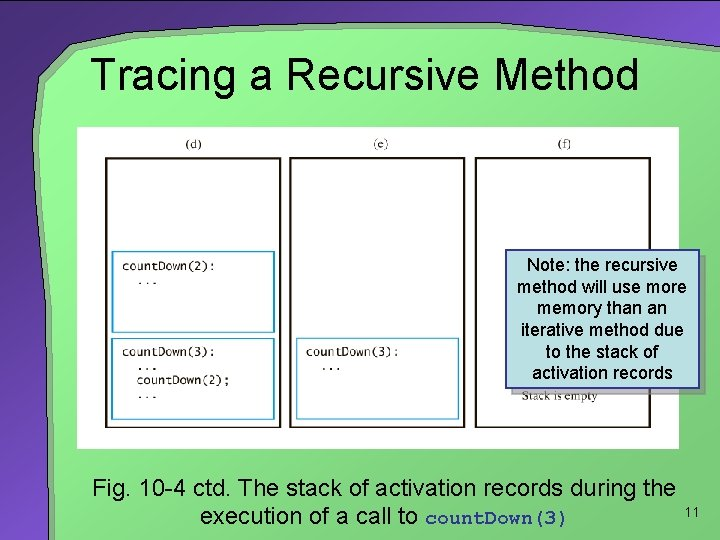 Tracing a Recursive Method Note: the recursive method will use more memory than an