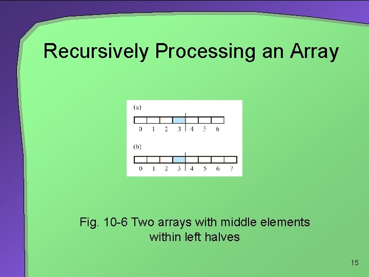 Recursively Processing an Array Fig. 10 -6 Two arrays with middle elements within left