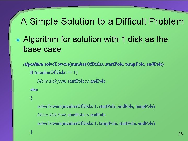 A Simple Solution to a Difficult Problem Algorithm for solution with 1 disk as
