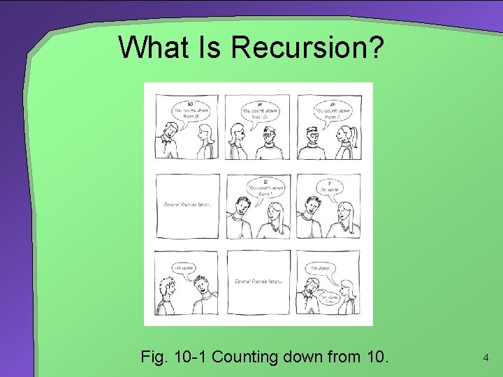 What Is Recursion? Fig. 10 -1 Counting down from 10. 4