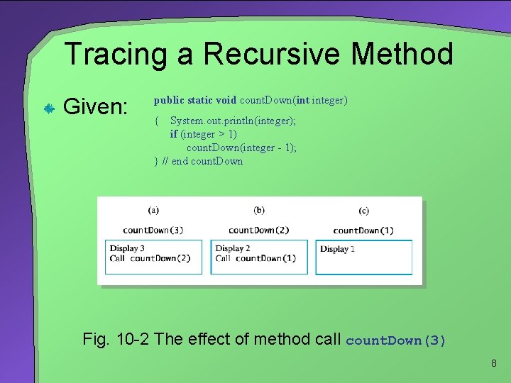 Tracing a Recursive Method Given: public static void count. Down(int integer) { System. out.