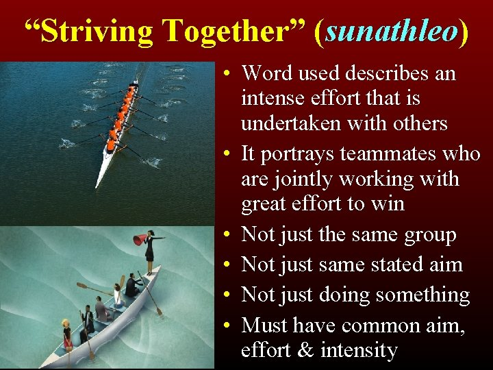 """""""Striving Together"""" (sunathleo) • Word used describes an intense effort that is undertaken with"""