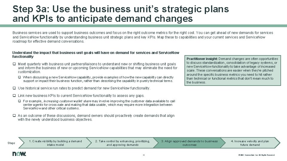 Step 3 a: Use the business unit's strategic plans and KPIs to anticipate demand
