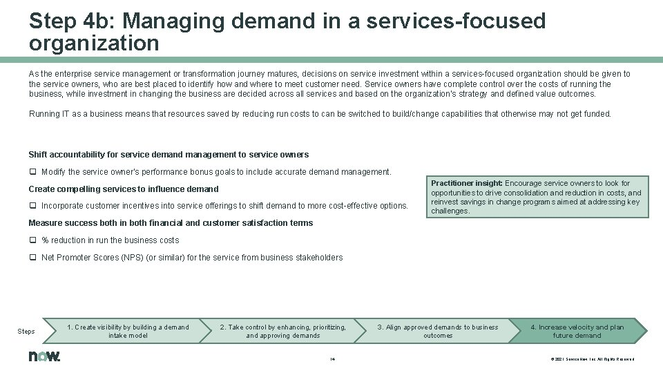 Step 4 b: Managing demand in a services-focused organization As the enterprise service management