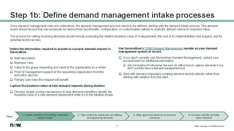 Step 1 b: Define demand management intake processes Once demand management roles are understood,
