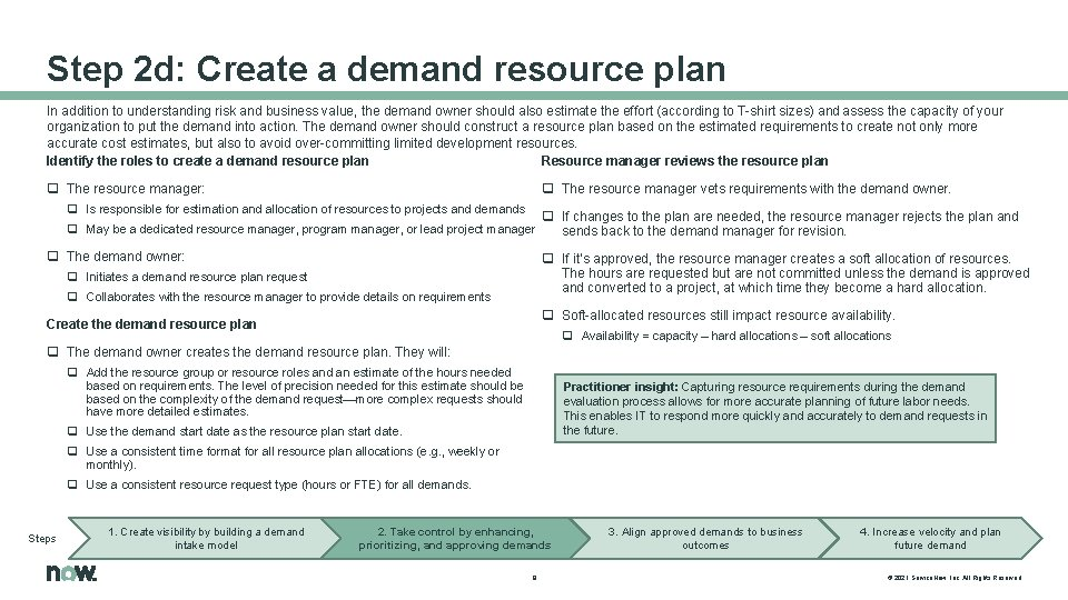 Step 2 d: Create a demand resource plan In addition to understanding risk and