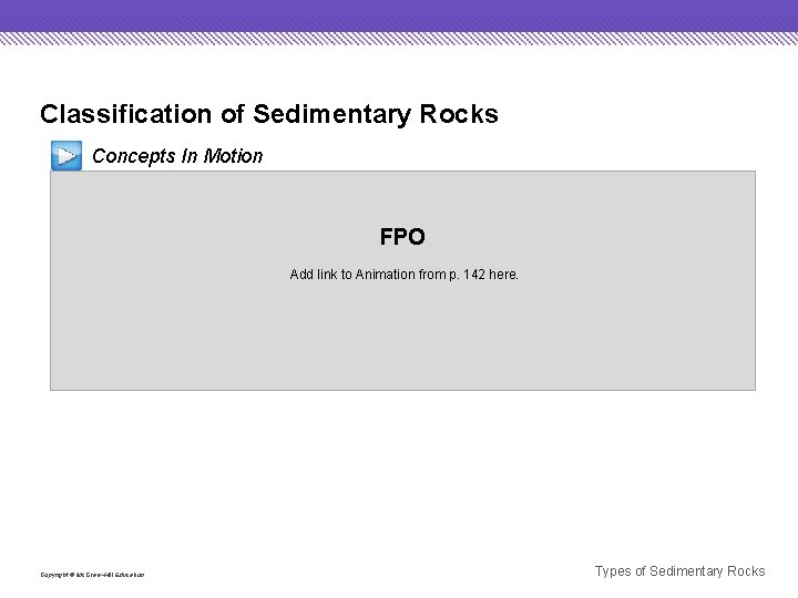 Classification of Sedimentary Rocks Concepts In Motion FPO Add link to Animation from p.