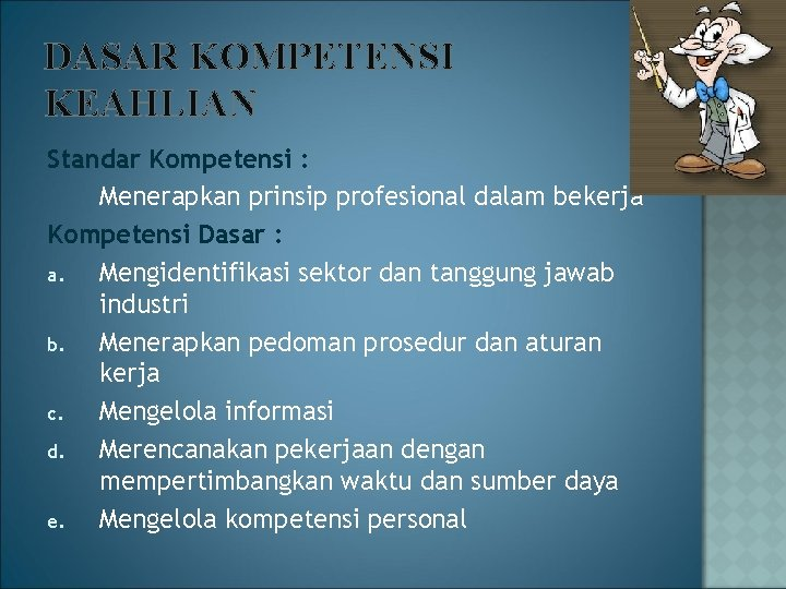 DASAR KOMPETENSI KEAHLIAN Standar Kompetensi : Menerapkan prinsip profesional dalam bekerja Kompetensi Dasar :