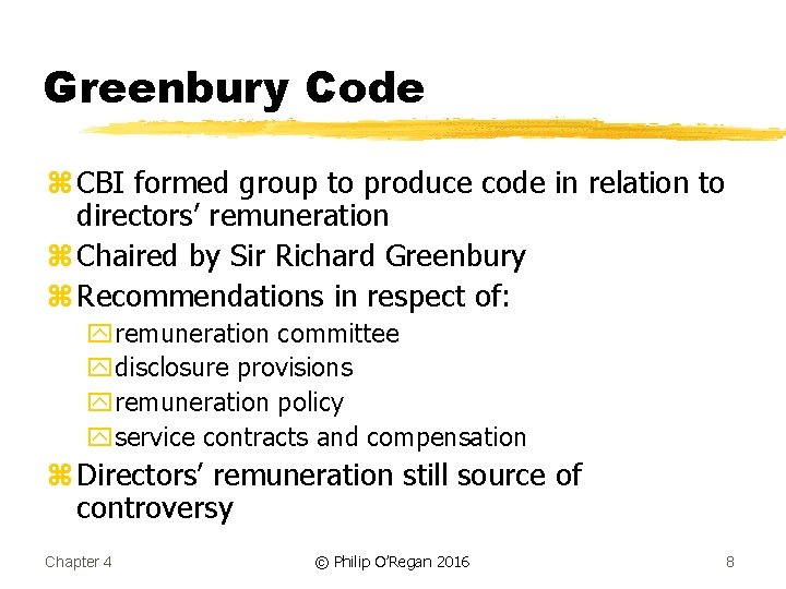 Greenbury Code z CBI formed group to produce code in relation to directors' remuneration