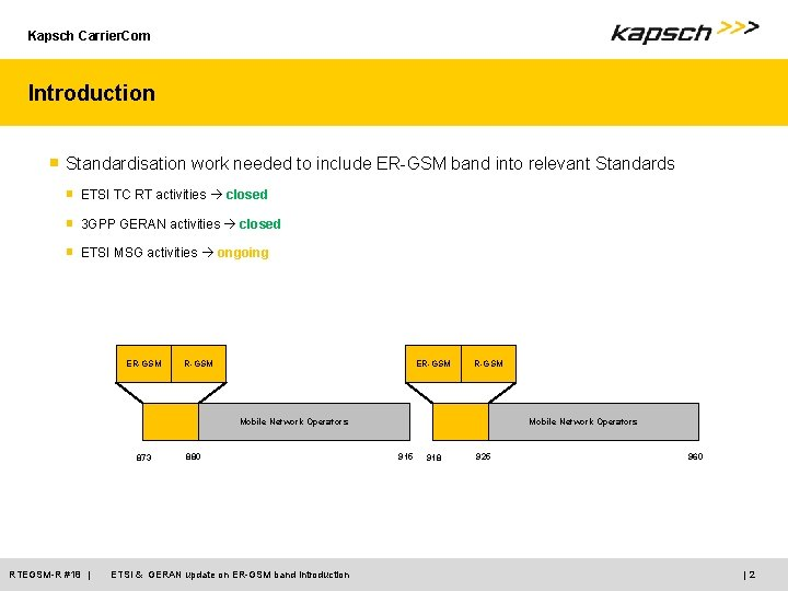 Kapsch Carrier. Com Introduction ■ Standardisation work needed to include ER-GSM band into relevant