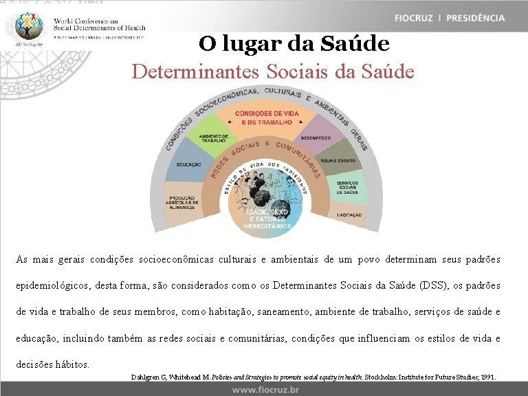O lugar da Saúde Determinantes Sociais da Saúde As mais gerais condições socioeconômicas culturais