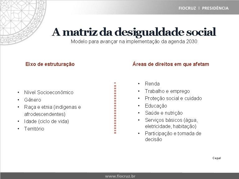 A matriz da desigualdade social Modelo para avançar na implementação da agenda 2030 Eixo
