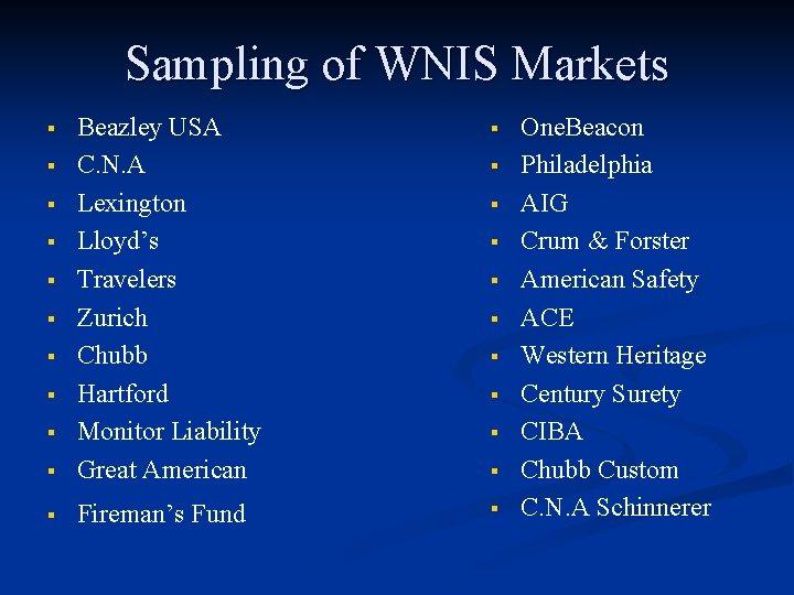 Sampling of WNIS Markets § § Beazley USA C. N. A Lexington Lloyd's Travelers