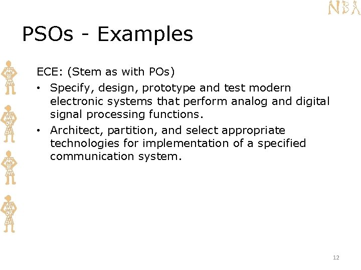 PSOs - Examples ECE: (Stem as with POs) • Specify, design, prototype and test