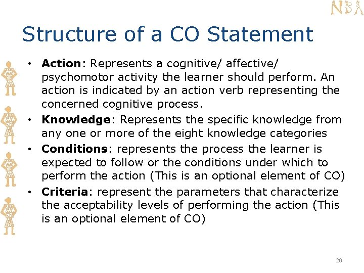 Structure of a CO Statement • Action: Represents a cognitive/ affective/ psychomotor activity the