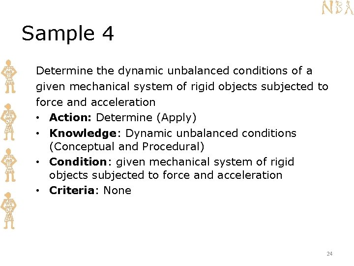 Sample 4 Determine the dynamic unbalanced conditions of a given mechanical system of rigid
