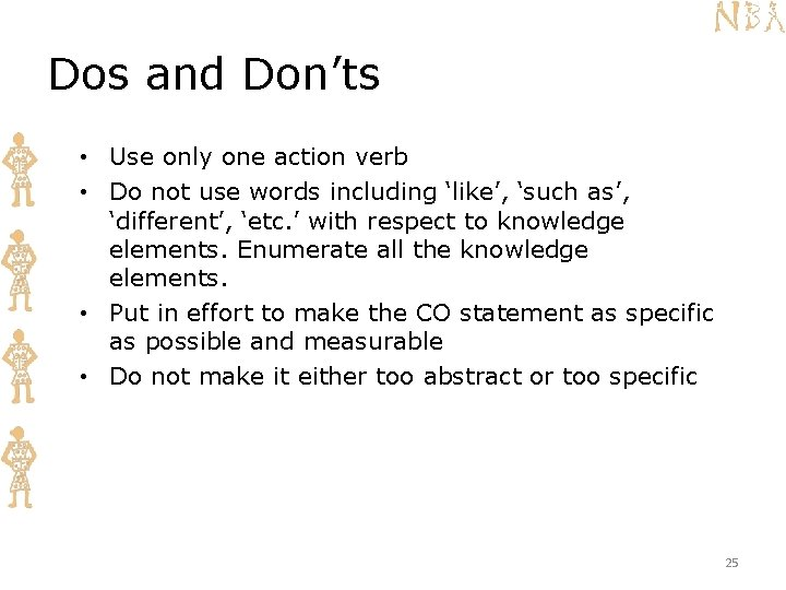 Dos and Don'ts • Use only one action verb • Do not use words