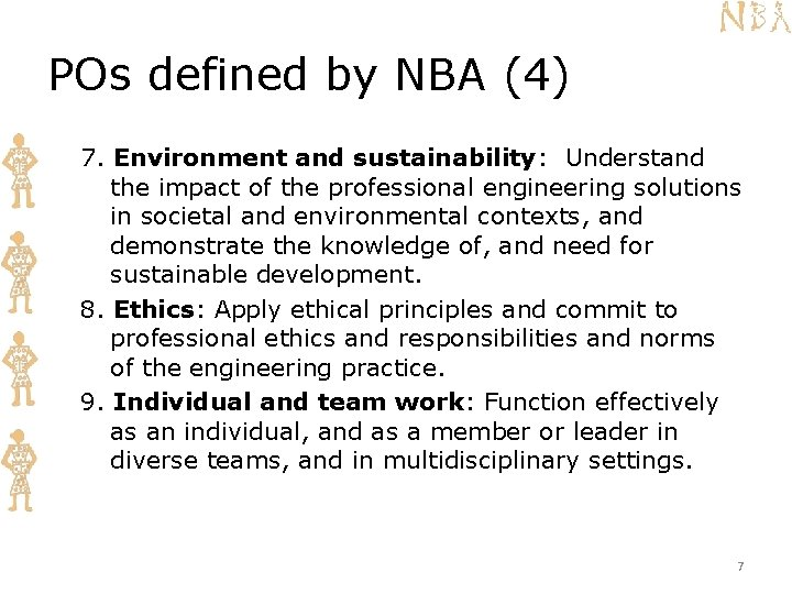 POs defined by NBA (4) 7. Environment and sustainability: Understand the impact of the