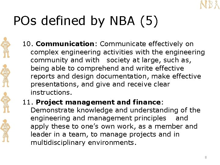 POs defined by NBA (5) 10. Communication: Communicate effectively on complex engineering activities with