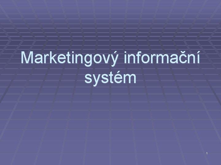 Marketingový informační systém 1