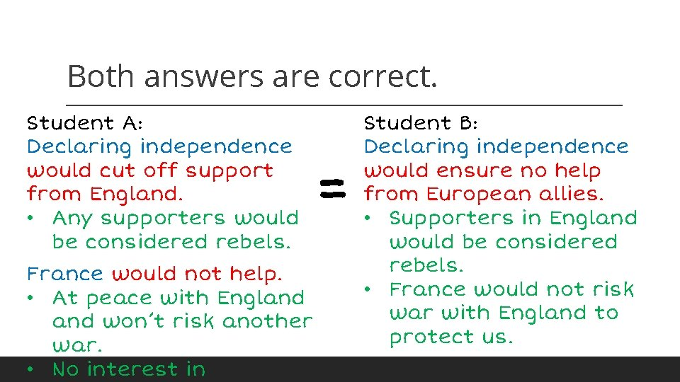 Both answers are correct. Student A: Declaring independence would cut off support from England.