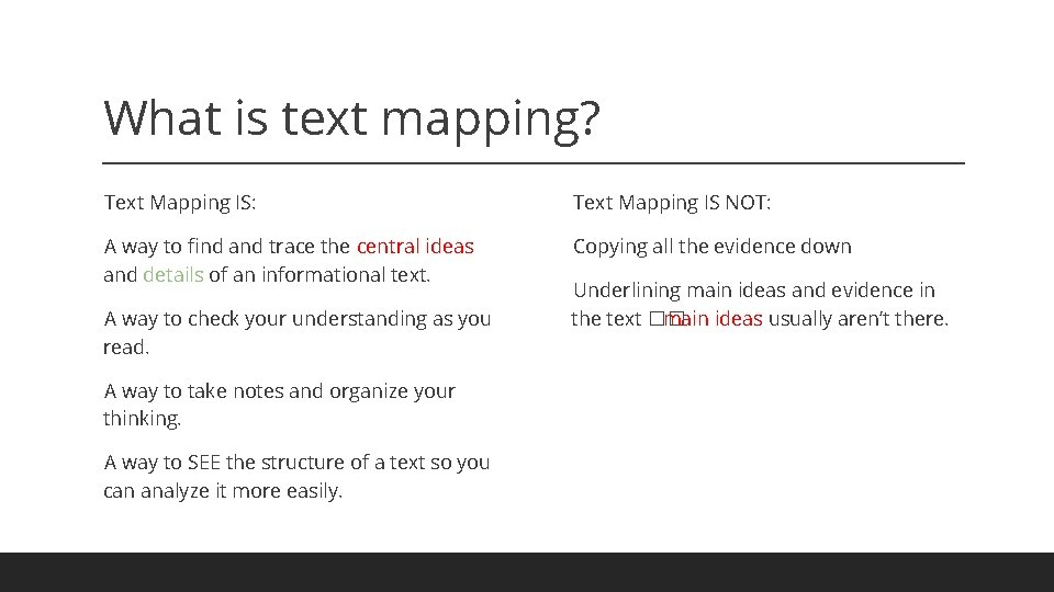 What is text mapping? Text Mapping IS: Text Mapping IS NOT: A way to