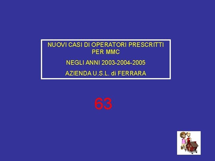 NUOVI CASI DI OPERATORI PRESCRITTI PER MMC NEGLI ANNI 2003 -2004 -2005 AZIENDA U.