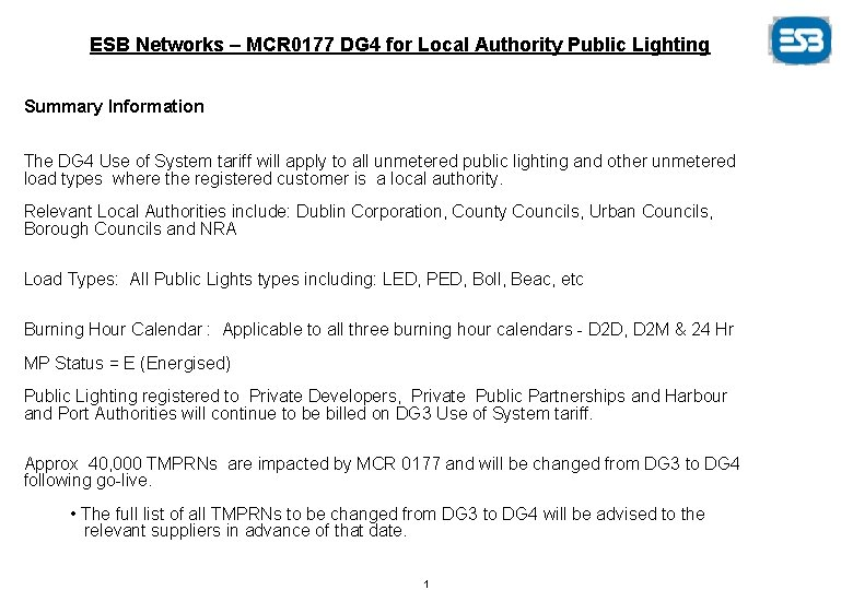 ESB Networks – MCR 0177 DG 4 for Local Authority Public Lighting Summary Information