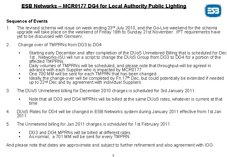 ESB Networks – MCR 0177 DG 4 for Local Authority Public Lighting Sequence of