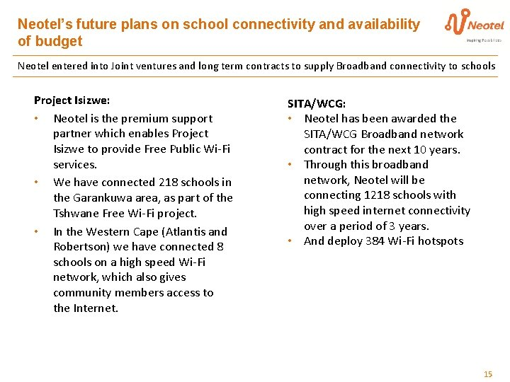 Neotel's future plans on school connectivity and availability of budget Neotel entered into Joint