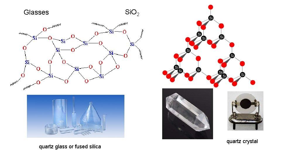 Glasses quartz glass or fused silica Si. O 2 quartz crystal