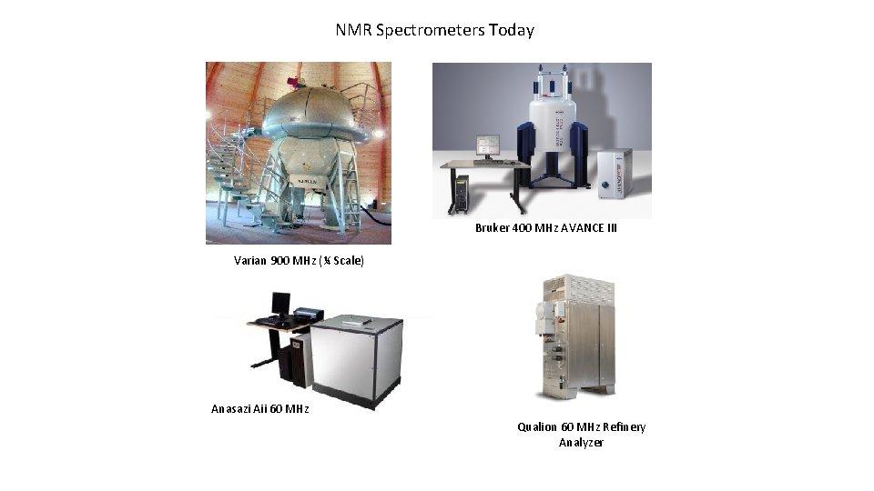 NMR Spectrometers Today Bruker 400 MHz AVANCE III Varian 900 MHz (¼ Scale) Anasazi