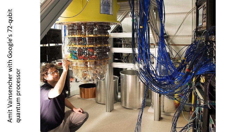 Amit Vainsencher with Google's 72 -qubit quantum processor
