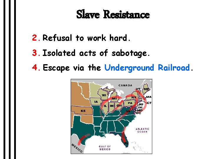 Slave Resistance 2. Refusal to work hard. 3. Isolated acts of sabotage. 4. Escape